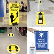 COVID-19 Social Distancing Signage + Products