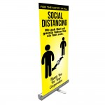 Social Distancing Retractable Banner Stand Sign